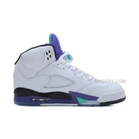 Air Jordan 5 Retro White/New Emerald-Grape-Ice Blue For Sale