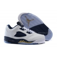 """Air Jordan 5 Low """"Dunk From Above"""" White-Gold/Midnight Navy 2016 Sale"""