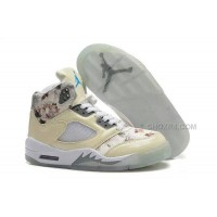 "Nike Air Jordan 5 ""Floral"" GS Beige White Online Sale Cheap Price"