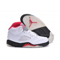 Air Jordan 5 (V) Retro White/Fire Red-Black For Sale Online