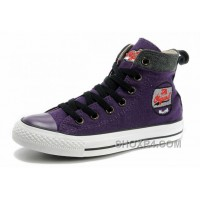 Cool CONVERSE Womens Embroidery Purple High Tops Chucks All Star Canvas Grey Suede Easy Slip Hot Now ExpDs