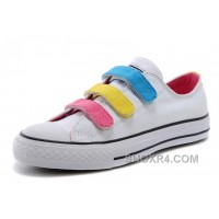 White CONVERSE Chuck Taylor 3 Straps Pink Yellow Blue Preschool All Star Velcro Sneakers Cheap To Buy 4tF5P