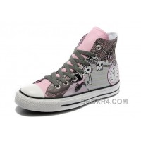 Pink CONVERSE High Tops Punk Collection Pirate Pattern Canvas Shoes Lastest YzwRP