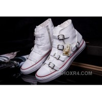 CONVERSE VS ASH Multi Buckles White Leather Chuck Taylor All Star High S Sneakers Top Deals WBi88