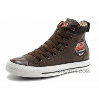 Cool CONVERSE Embroidery Brown High Tops Chucks All Star Canvas Suede Easy Slip Online Bzbjy