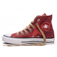 Red CONVERSE All Star Print Chuck Taylor Stonewashed Canvas High Tops Shoes Lastest TyDBE