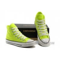 Korea Edtion CONVERSE All Star Chuck Taylor Fluorescent Light Green High Tops Canvas Shoes Christmas Deals XYsj2