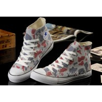 Summer CONVERSE Camouflage High Tops Nicolas Cage Soul Grey Red All Star Chucks Canvas Sneakers Discount FXS8x