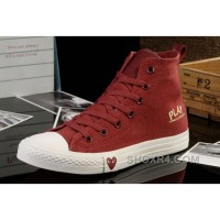 Red High Tops CONVERSE All Star Light Comme Des Garcons Play Canvas Shoes Authentic WBika