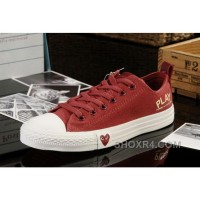 Red CONVERSE All Star Light Comme Des Garcons Play Canvas Tops Shoes Authentic WcCtm