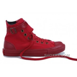 Monochrome Red CONVERSE High Tops Buckles Canvas Shoes Christmas Deals CbFfY