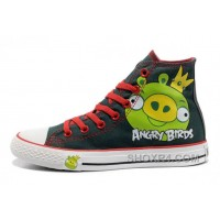 CONVERSE Angry Birds Green King Pig Printed All Star High Tops Shoes Hot Now YAWQs