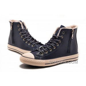 Blue CONVERSE Winter Boots Wool Inner Side Zip High Leather Top Deals EMYks