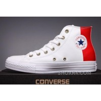 CONVERSE Red Leather Two Panels Chuck Taylor All Star High Tops Hot Now GHikQ