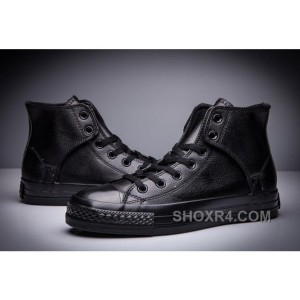 All Black CONVERSE All Star Leather Side Velcro High Tops Discount Rc44w
