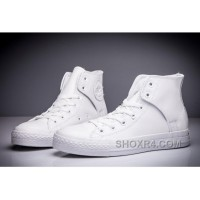 CONVERSE All Star Leather Side Velcro High Tops White Free Shipping FFRHr