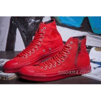 Pure Red High Tops CONVERSE Two Row Eyelets Side Zip CT AS Canvas Authentic DJsz2