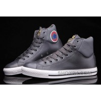 Grey CONVERSE CT AS Embroidery Padded Collar High Tops Leather Free Shipping 5aWWM