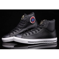 Black Hi Tops CONVERSE CT Embroidery Padded Collar Leather All Star Lastest WN43Z