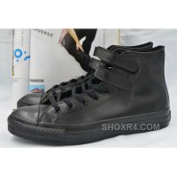 All Star Full Black Leather CONVERSE Double Velcro Chuck Taylor High Shoes Cheap To Buy MNiWk