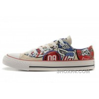 CONVERSE American Retro Pattern Printing White Tops Chuck Taylor All Star Canvas Sneakers Authentic K3tmr