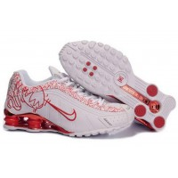 Womens Nike Shox R4 White Red Leather