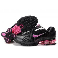 Womens Nike Shox R4 Black Hot Pink Leather