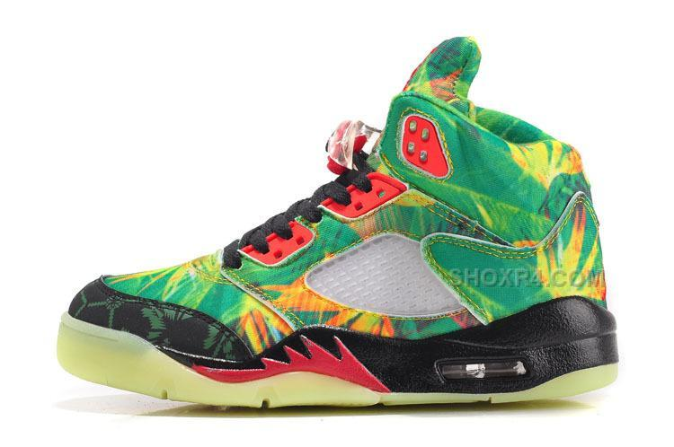 2015 Latest Nike Air Jordan 5 Maple Leaf Womems Shoes Green Red Sneakers Outlet